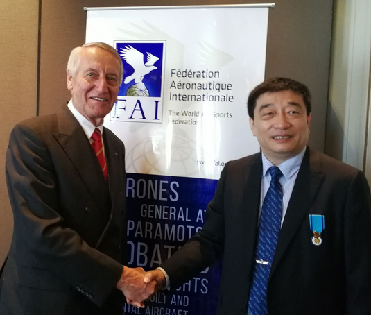 FAI President with Mr Zhao Yong, Deputy Minister of General Administration of Sports of China.