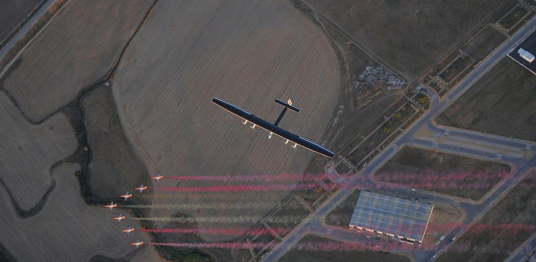 Solar Impulse arriving Seville Spain 2016