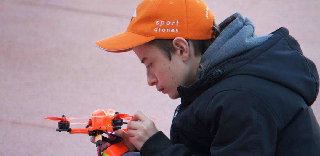 Thomas Grout at a drone racing competition