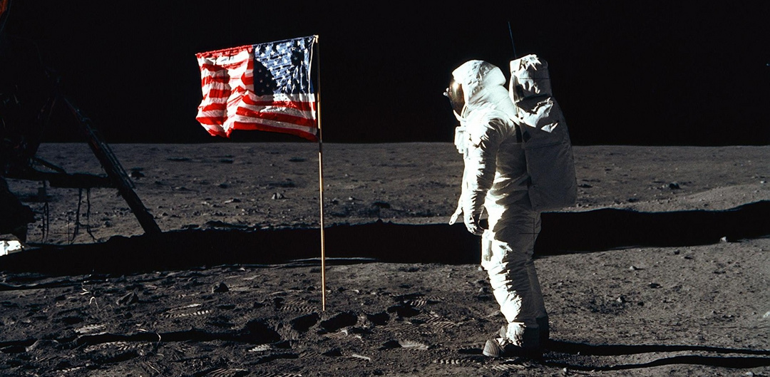 US flag moon NASA