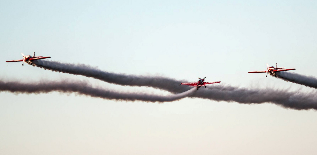 Air Show with smoke