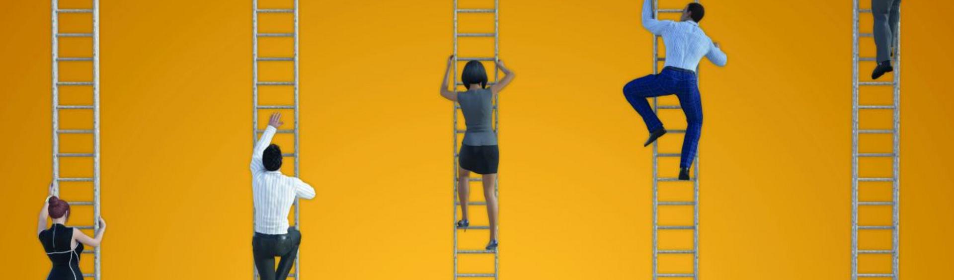 Climbing up ladders
